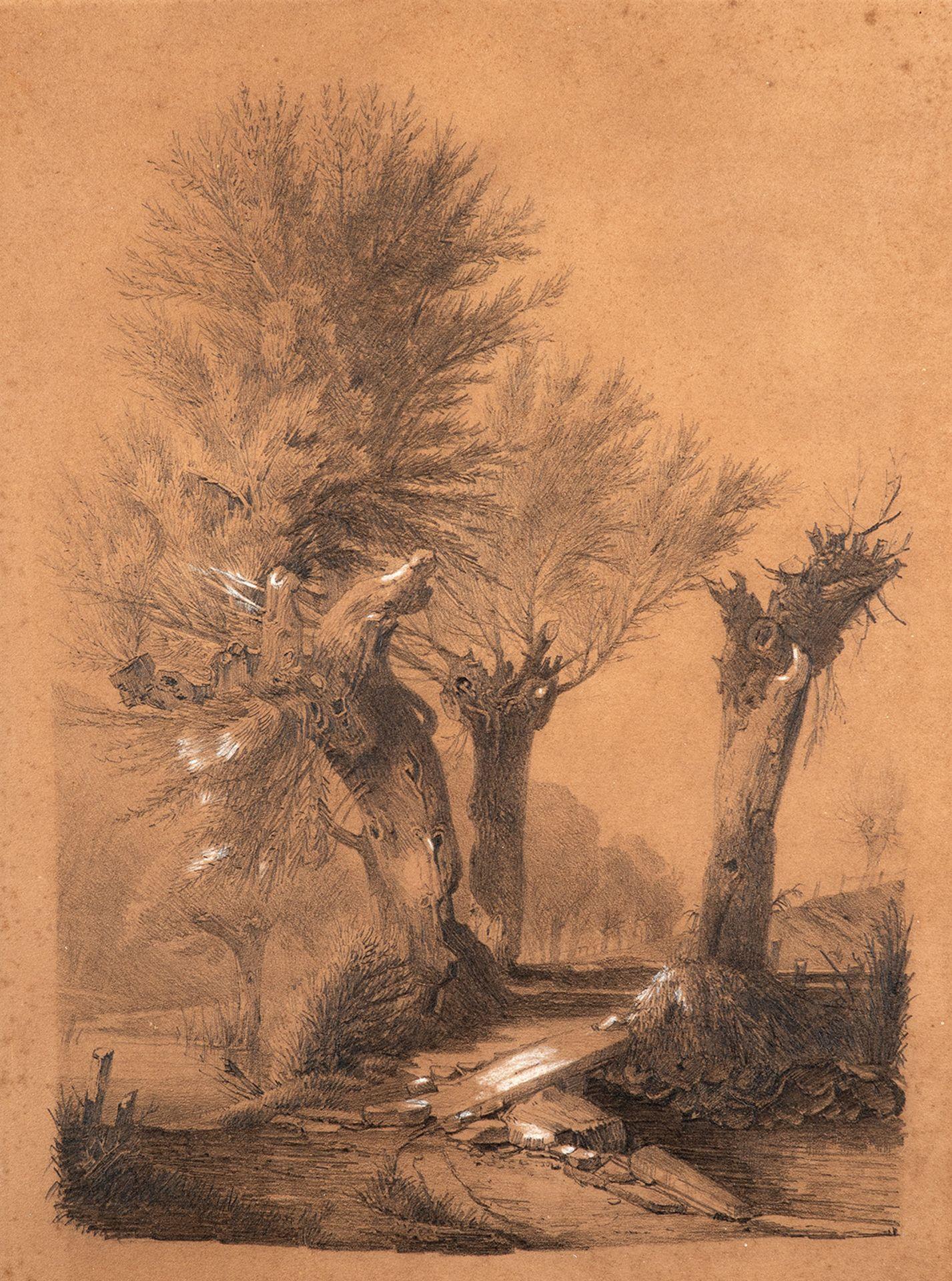 Louis Douzette – Landschaft mit Bachlauf und kleiner Brücke. um 1860.