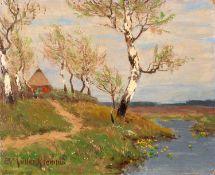 Paul Müller–Kaempff – Haus mit Birken. um 1910.