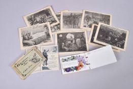 Divers. Grande Guerre. Travaux des blessés :2 cartes correspondance militaire :12 cartes calendrier
