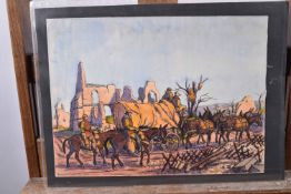 """Taquoy. (M.)  L'armée américaine dans la Grande Guerre. """"Convoi avec mules"""" aquarelle originale sign"""