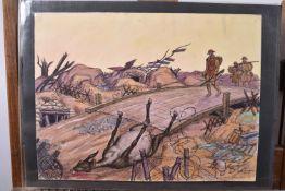 """Taquoy. (M.)  L'armée américaine dans la Grande Guerre. """"Traversée d'un pont dans les tranchées"""" aqu"""