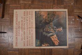 Affiche de guerre. (1917) « Debout dans la tranchée que l'aurore éclaire, le soldat rêve…souscrivez