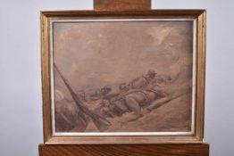 Lajoux. (E.) « Sous la tempête » vers 1915. L'infanterie française rampe sous le feu de l'ennemi. H.
