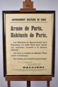 Affichette du gouvernement militaire de Paris. « Armée de Paris, habitants de Paris… »