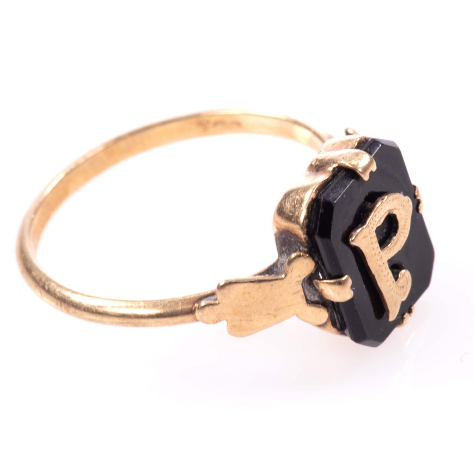 """9ct Gold Victorian Onyx Mourning Ring """"P"""" - Image 6 of 7"""