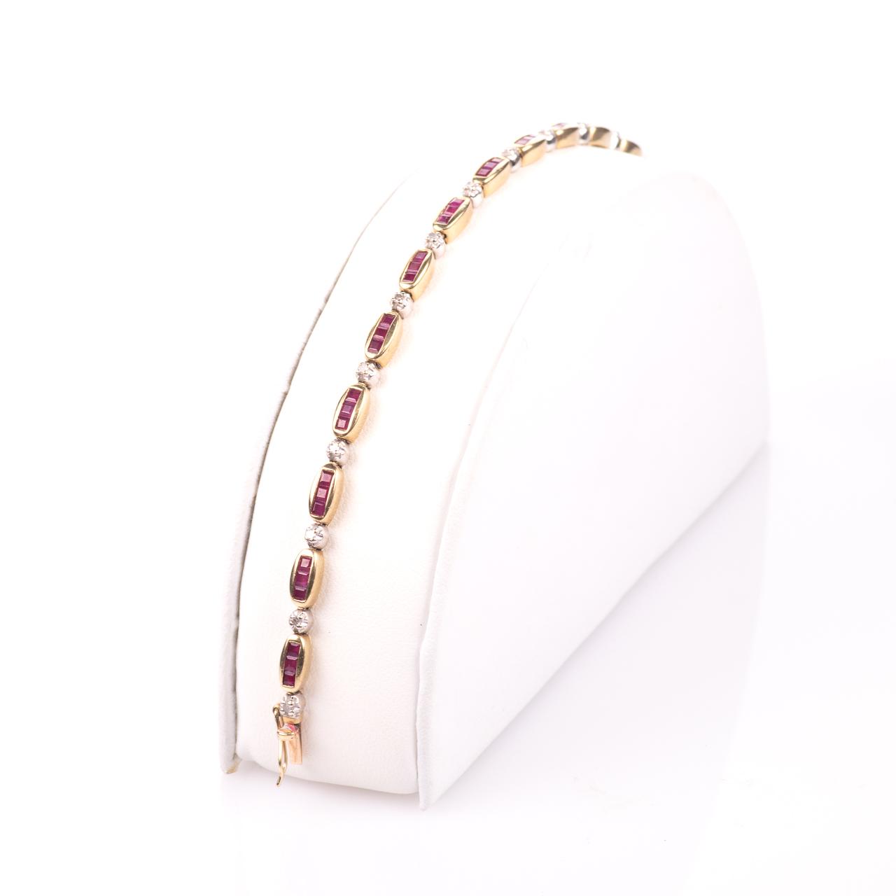 9ct Gold 2ct Ruby & Diamond Tennis Bracelet - Image 3 of 6