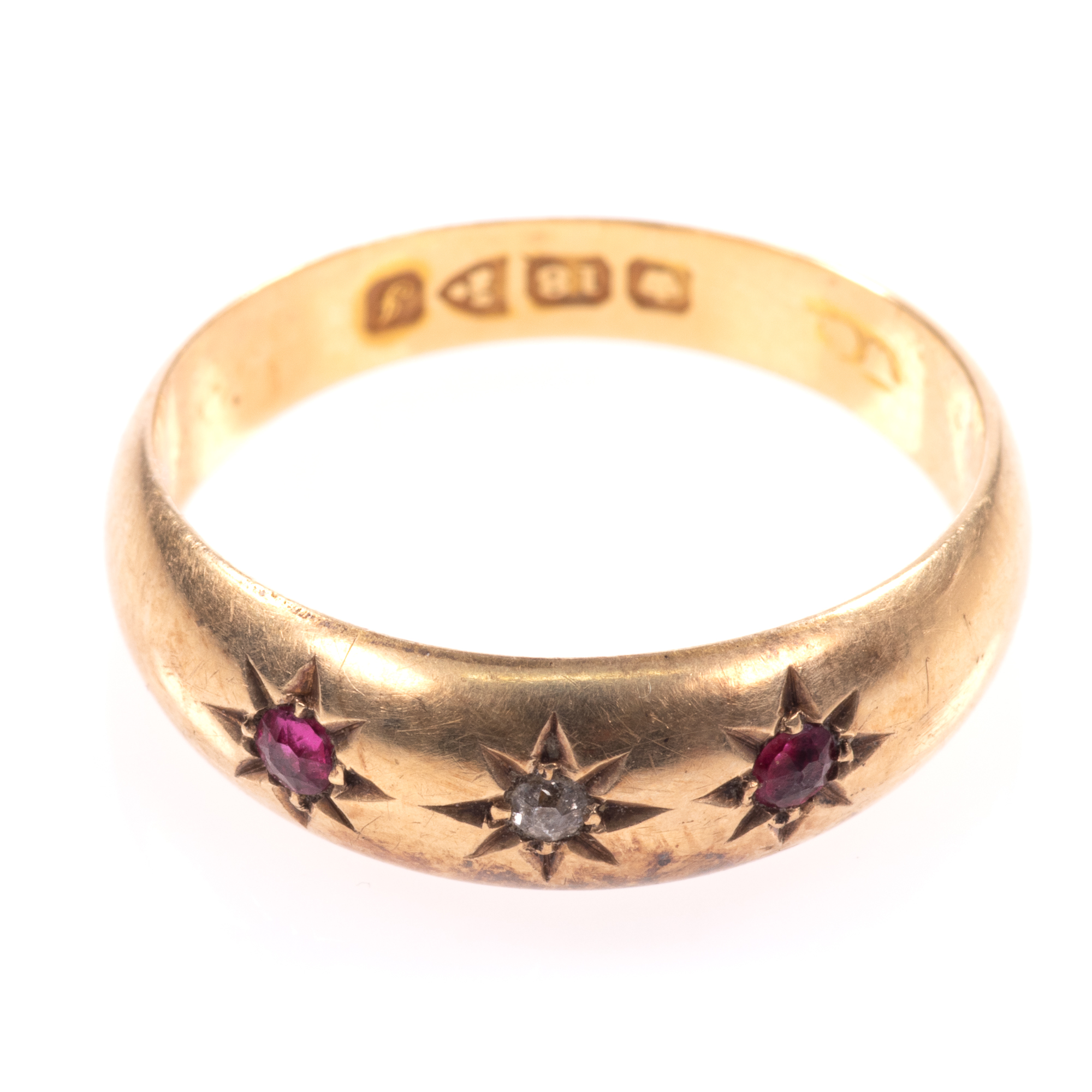 18ct Gold Edwardian Ruby & Diamond Ring Chester 1909 - Image 3 of 8