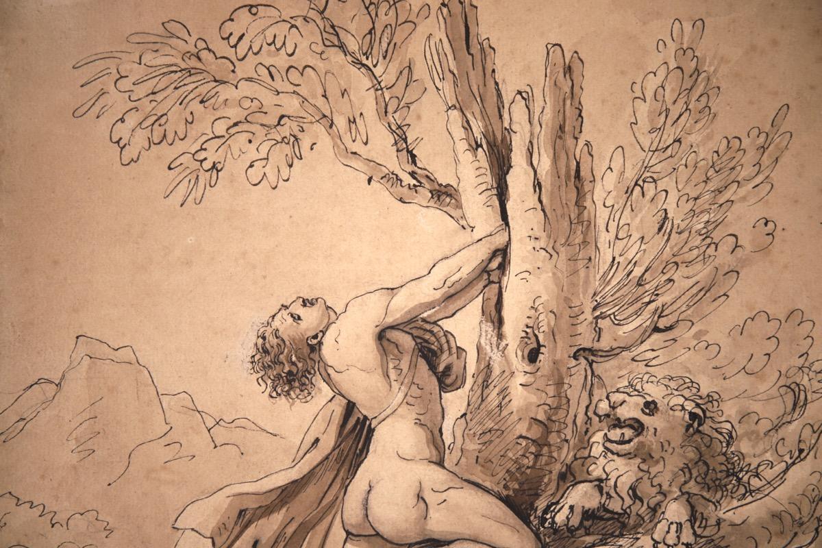 XVII Italian Old Master Drawing of Milo of Croton - Image 6 of 11