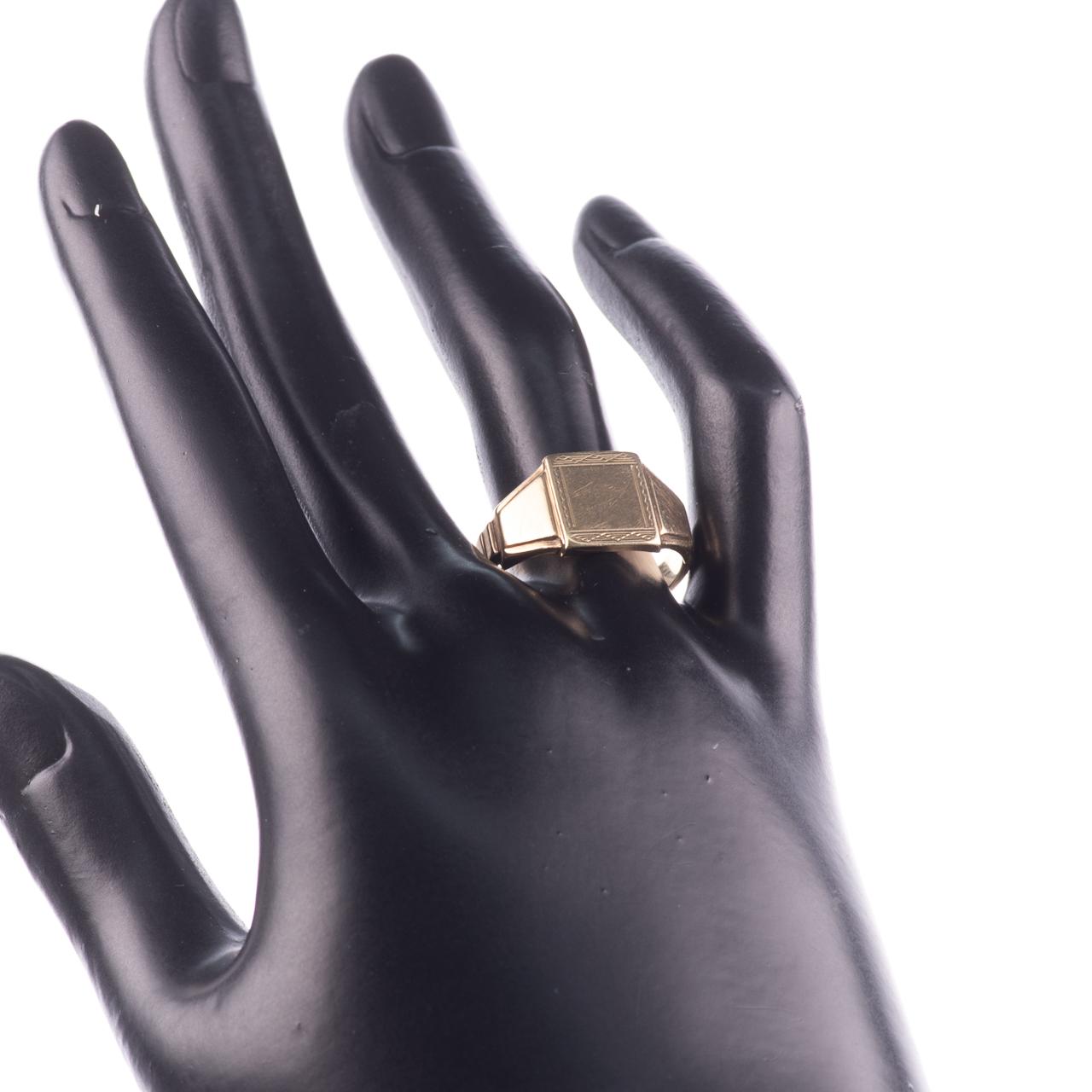 Art Deco Style Gentleman's Signet Ring 9ct Gold - Image 2 of 7