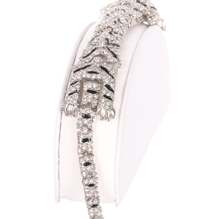 Cartier Style Articulated Panther Enamel Bracelet - Image 5 of 5