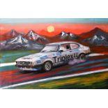 44 Triplex Capri Racing Car Signed Painting A. Lopes