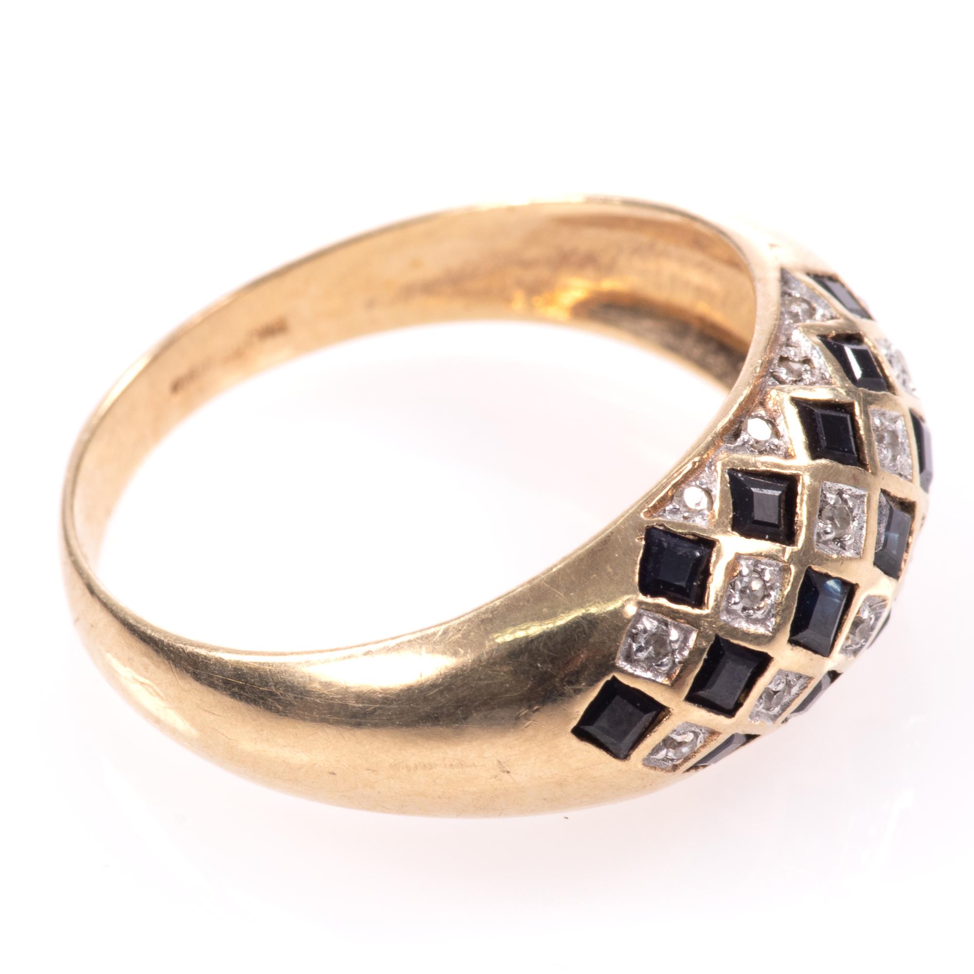 9ct Gold Art Deco Style 0.68ct Sapphire & Diamond Ring - Image 8 of 8