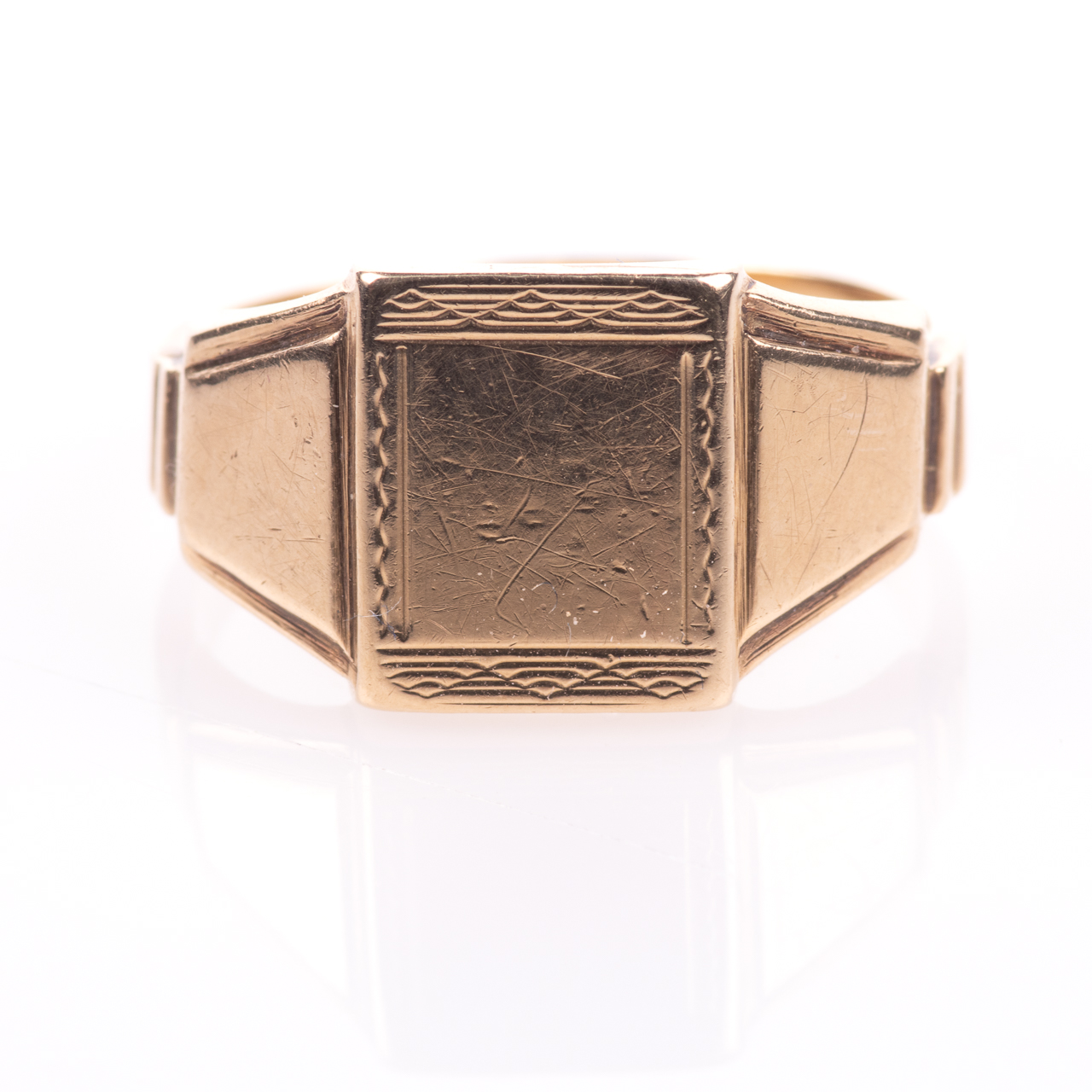 Art Deco Style Gentleman's Signet Ring 9ct Gold - Image 3 of 7