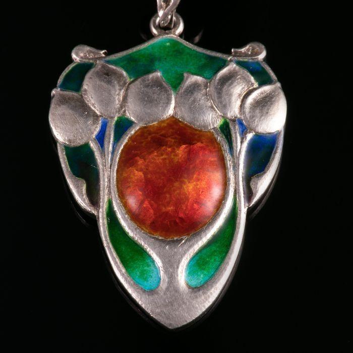 Liberty & Co Art Nouveau Silver Enamel Pendant & Necklace
