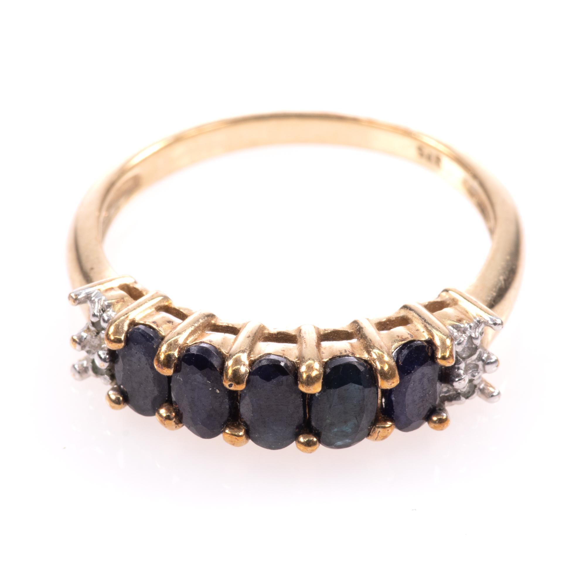9ct Gold 5ct Sapphire & Diamond Ring - Image 3 of 7