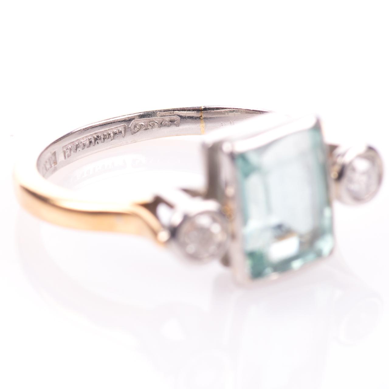 22ct Gold & Platinum 2ct Aquamarine & Diamond Art Deco Ring - Image 7 of 8