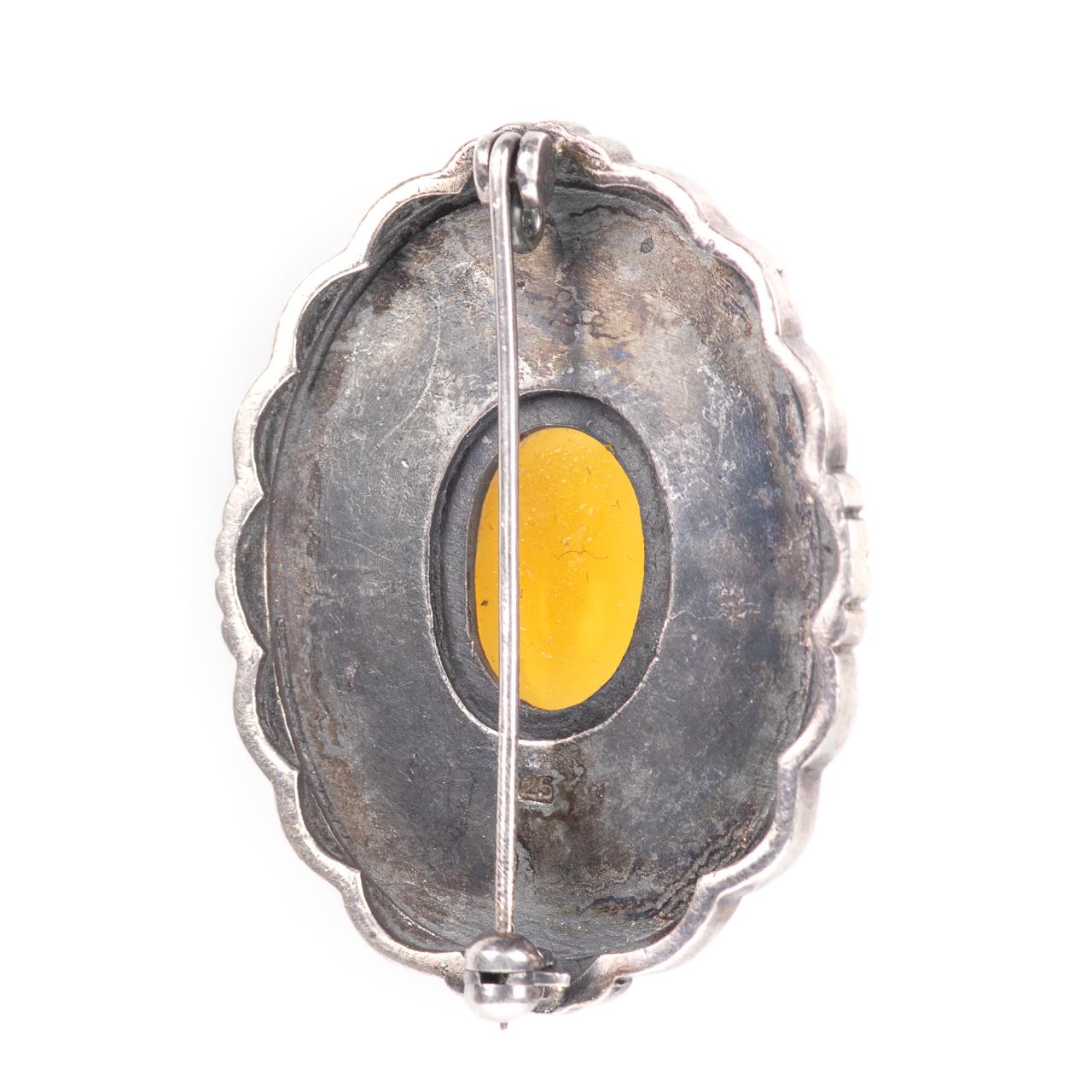 Silver Cairngorm Malachite & Citrine Brooch - Image 4 of 4