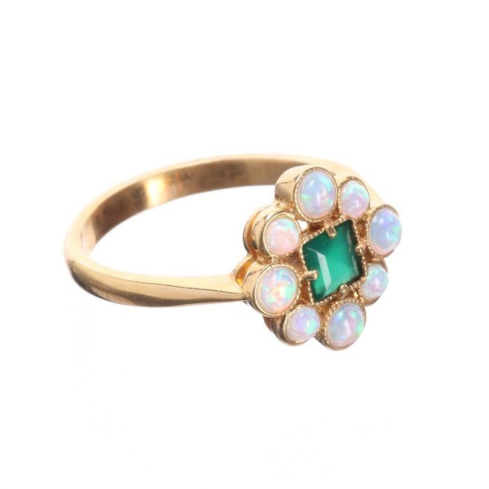 Opal & Emerald Paste Gilded Ring - Image 4 of 4
