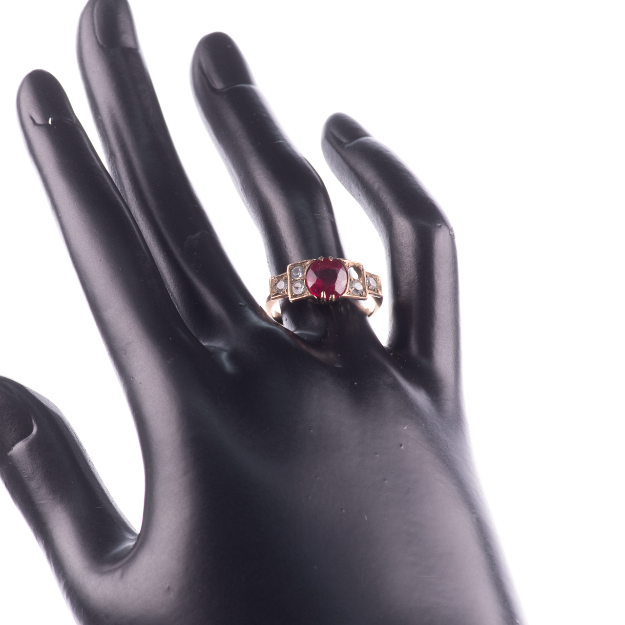 Art Deco Ruby & Paste Ring - Image 2 of 6