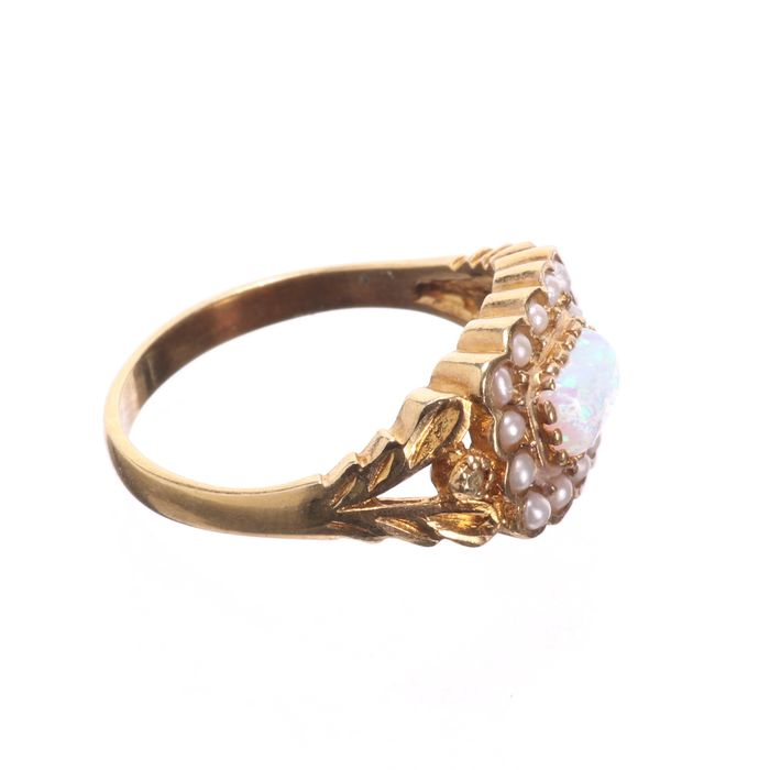 Gilt Opal & Pearl Ring - Image 6 of 6