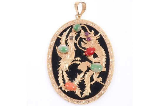 14K Gold Chinese Dragon Coral, Jade & Ruby Pendant