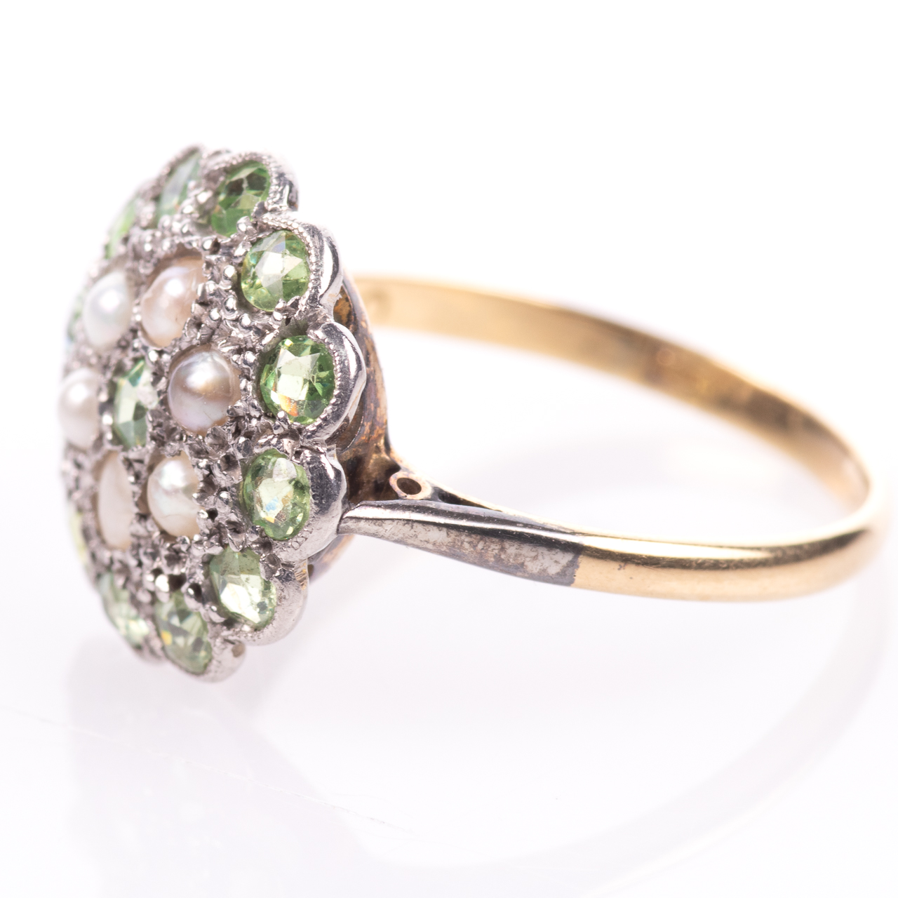 18ct Gold Victorian Peridot & Pearl Cluster Ring - Image 4 of 8