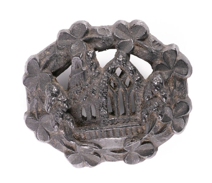 Victorian Gothic Revival Whitby Jet Brooch