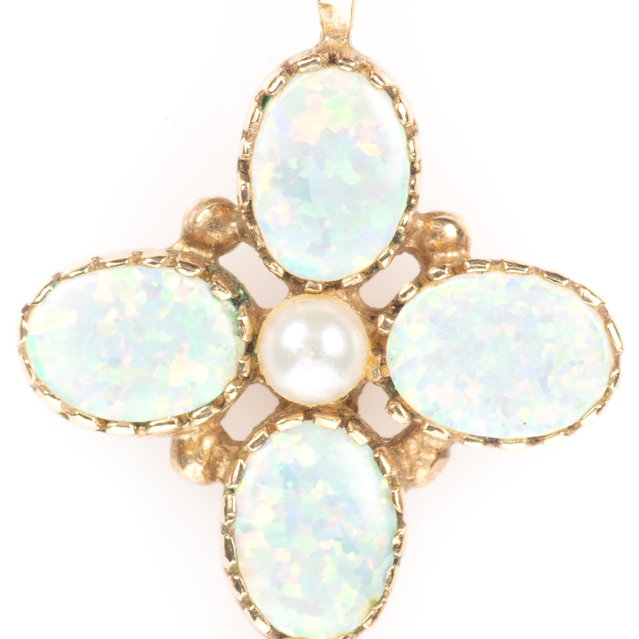 9ct Gold Solid 1ct Opal & Pearl Cross Pendant - Image 3 of 6