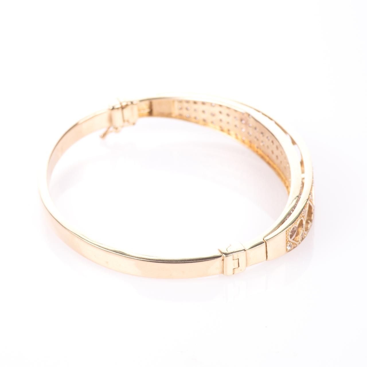 9ct Gold 4ct Diamond Heart Bangle Bracelet - Image 7 of 7