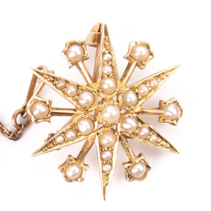 15K Gold Victorian Pearl Starbust Brooch