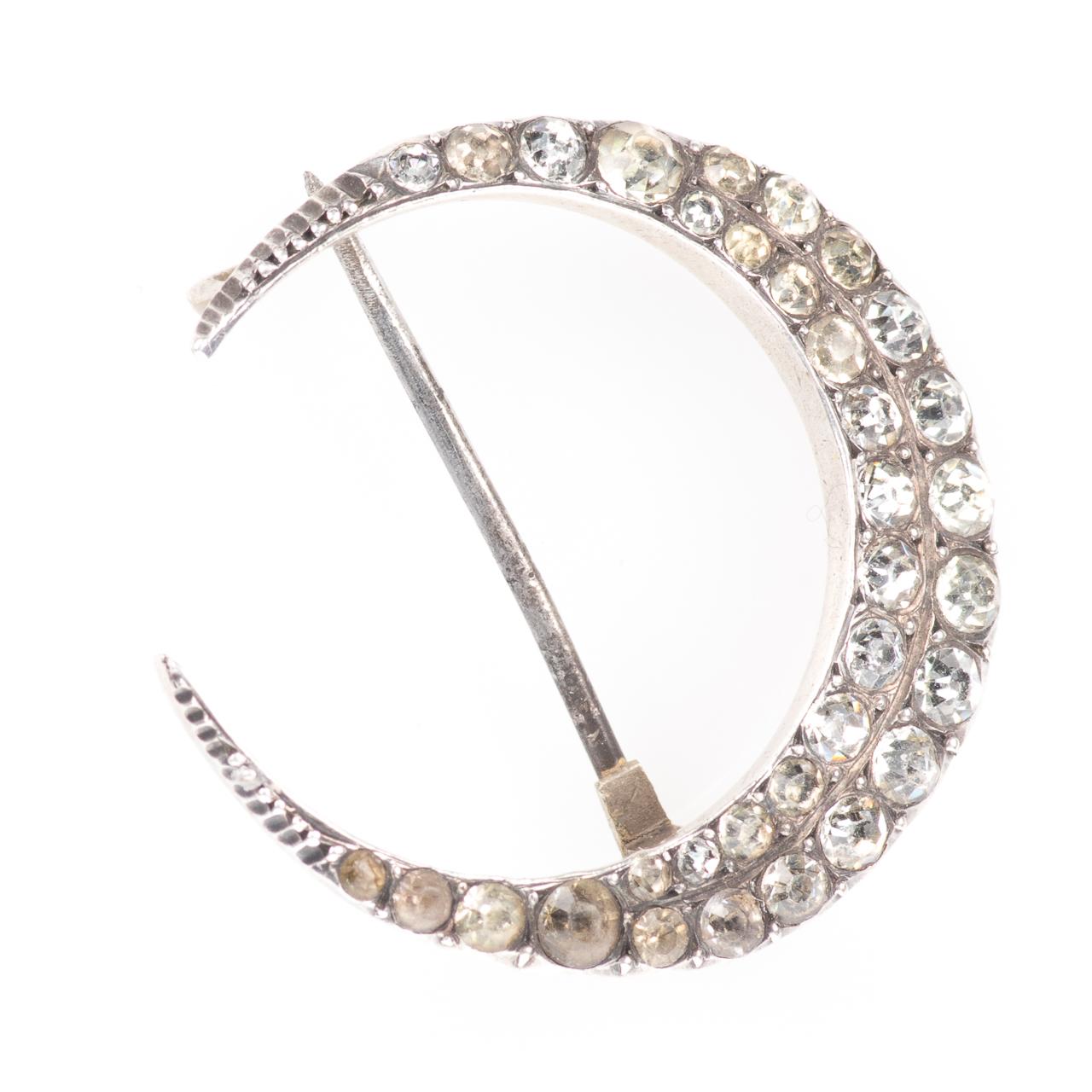 Victorian 900 Silver Paste Crescent Moon Brooch