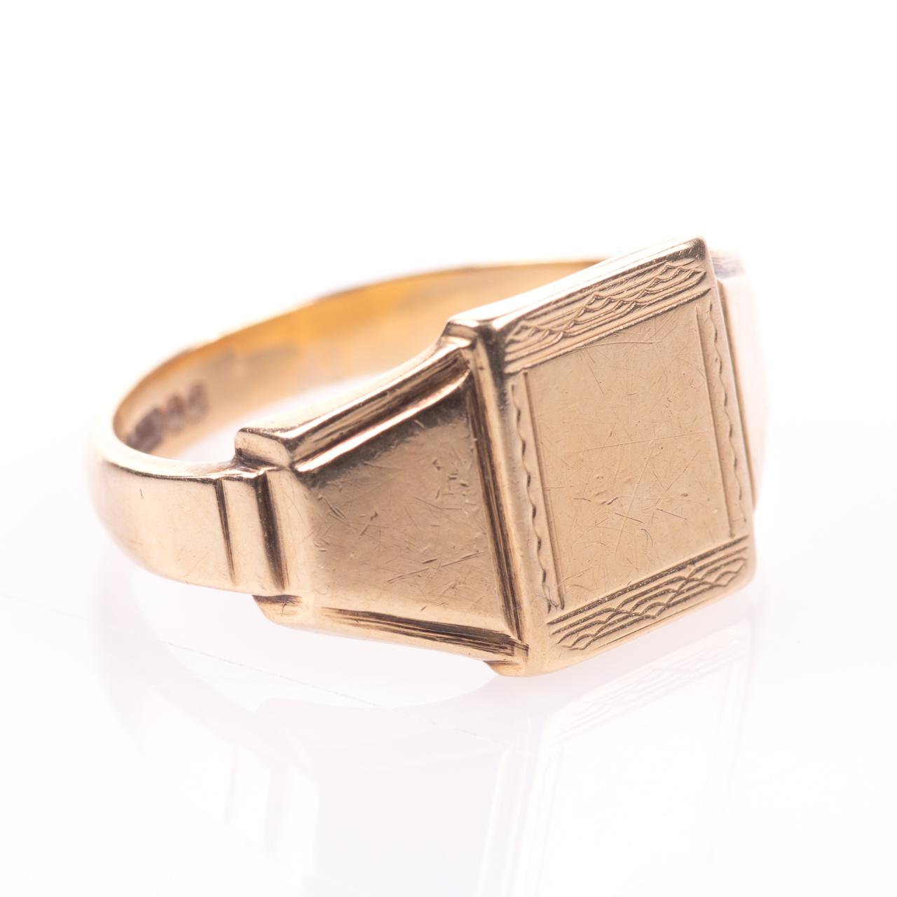Art Deco Style Gentleman's Signet Ring 9ct Gold - Image 7 of 7