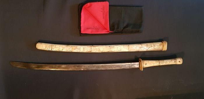 XIII Carved Bone Japanese Wakizashi Katana Edo Period ????