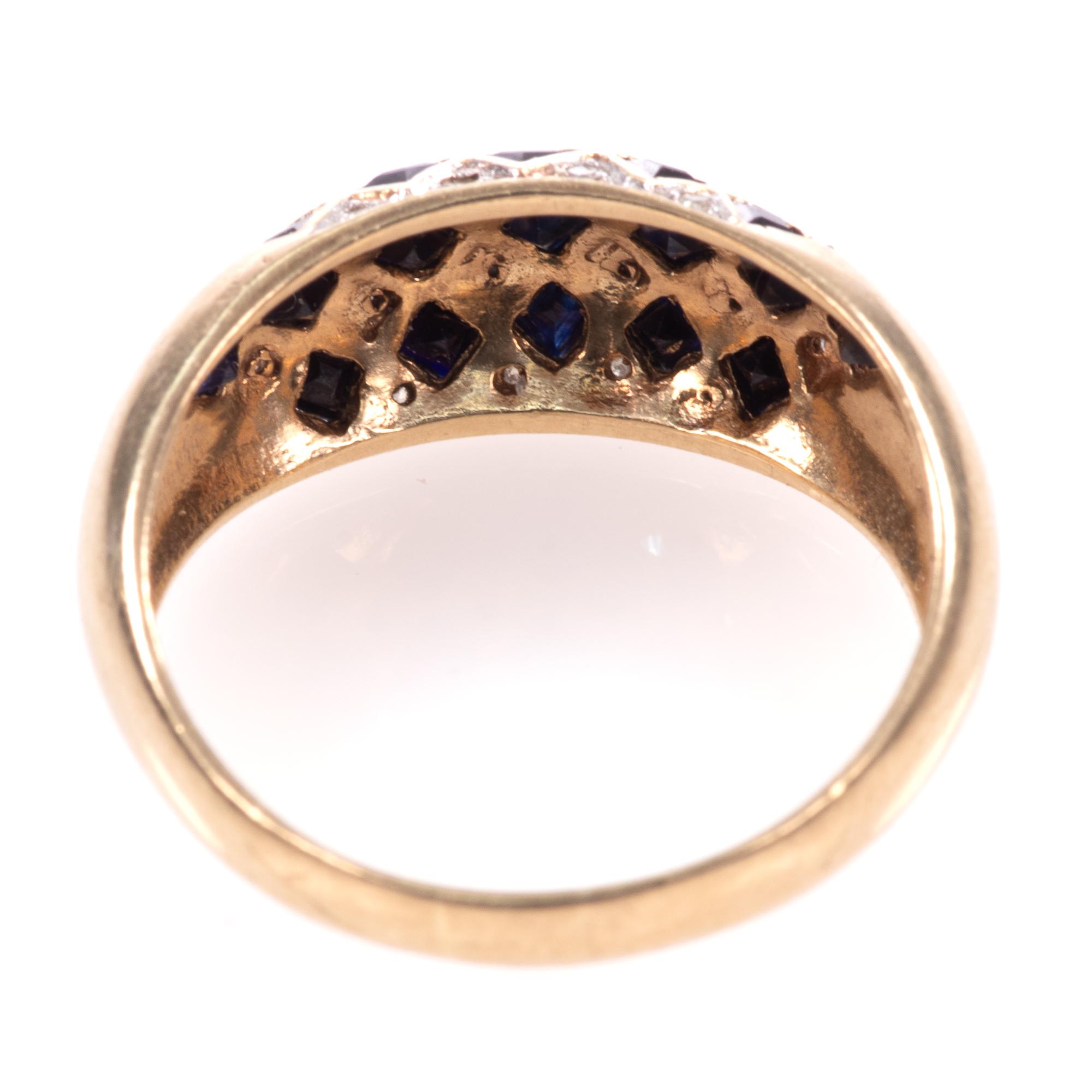 9ct Gold Art Deco Style 0.68ct Sapphire & Diamond Ring - Image 6 of 8