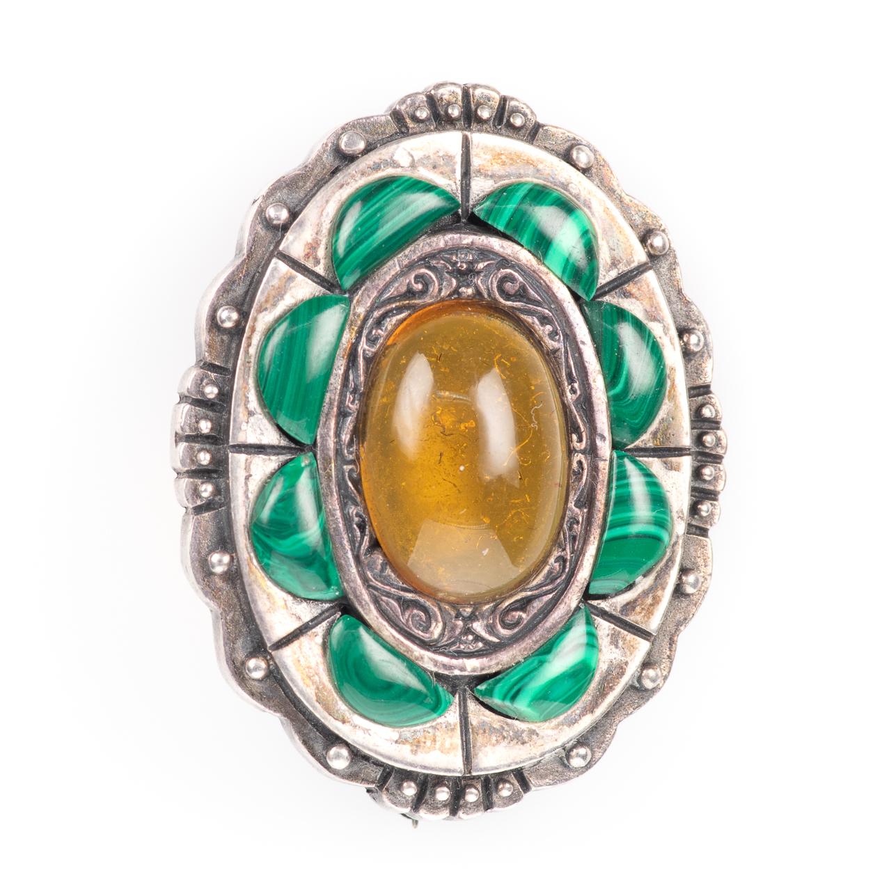 Silver Cairngorm Malachite & Citrine Brooch
