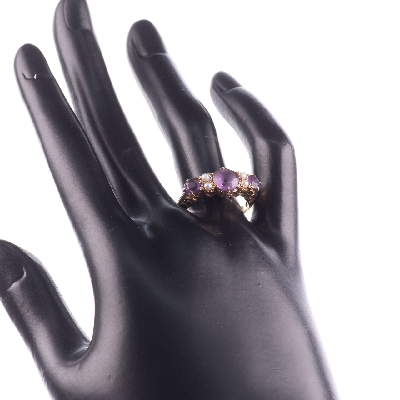 9ct Gold 2.10ct Amethyst & Pearl Ring - Image 2 of 7