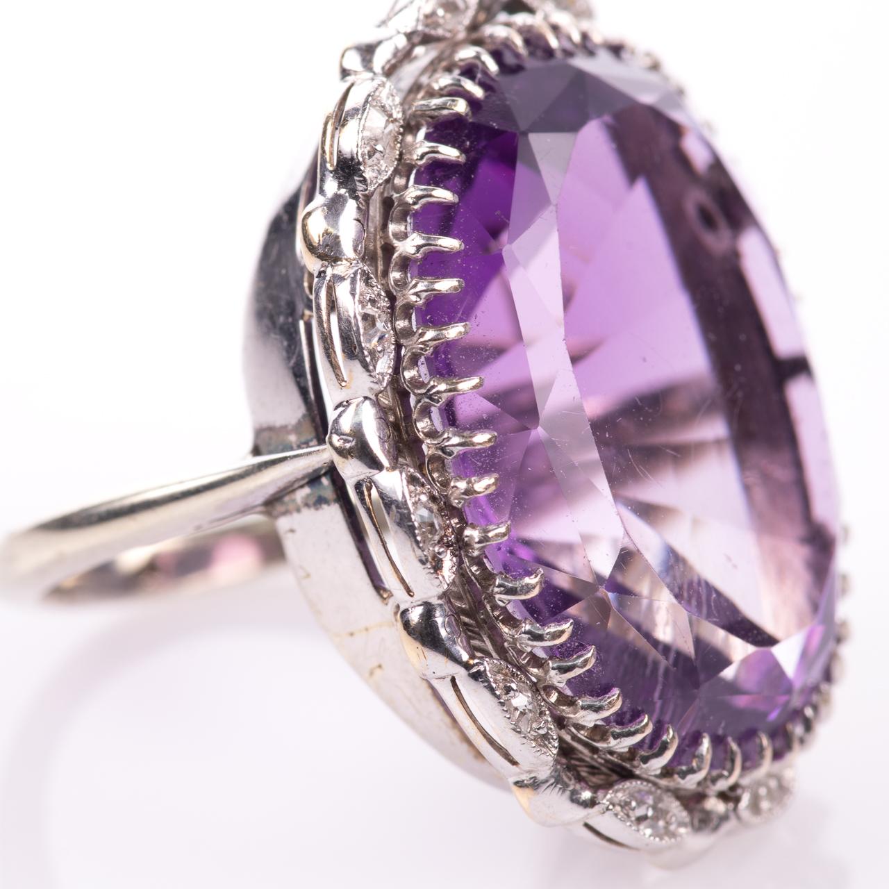 30ct Amethyst & Diamond Ring - Image 6 of 6