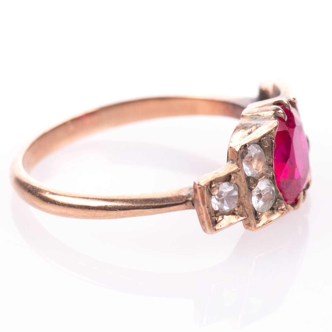 Art Deco Ruby & Paste Ring - Image 6 of 6