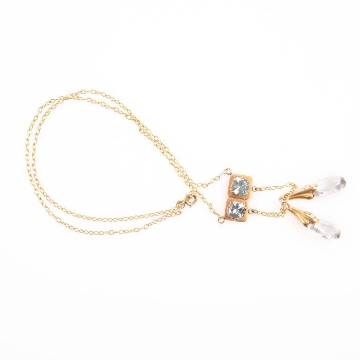 18K Gold Art Nouveau Aquamarine Pendant - Image 3 of 6
