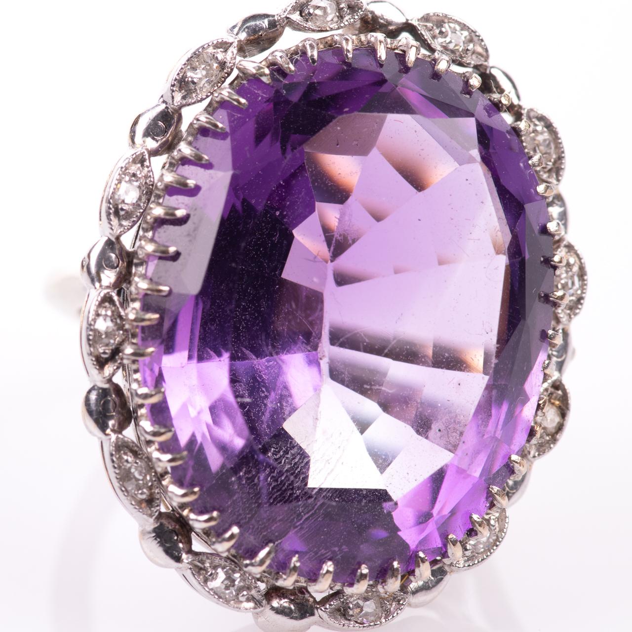 30ct Amethyst & Diamond Ring - Image 3 of 6