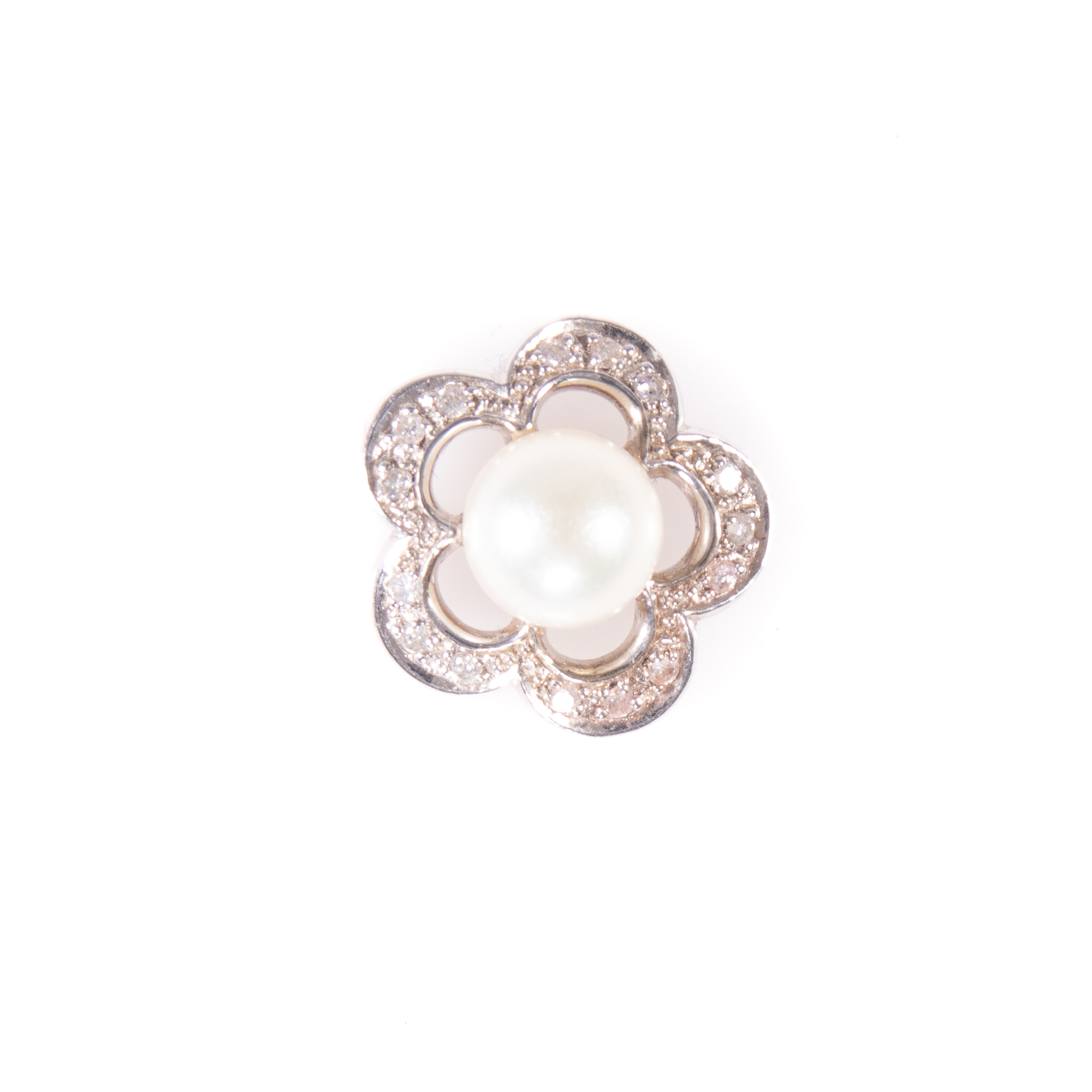 18ct White Gold Diamond & Pearl Floral Pendant - Image 2 of 6