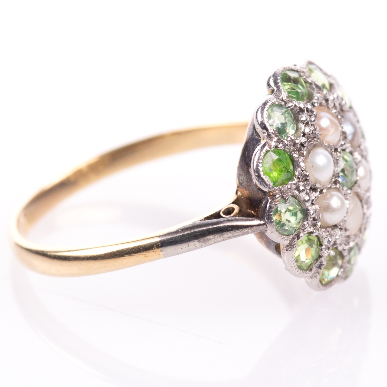 18ct Gold Victorian Peridot & Pearl Cluster Ring - Image 8 of 8