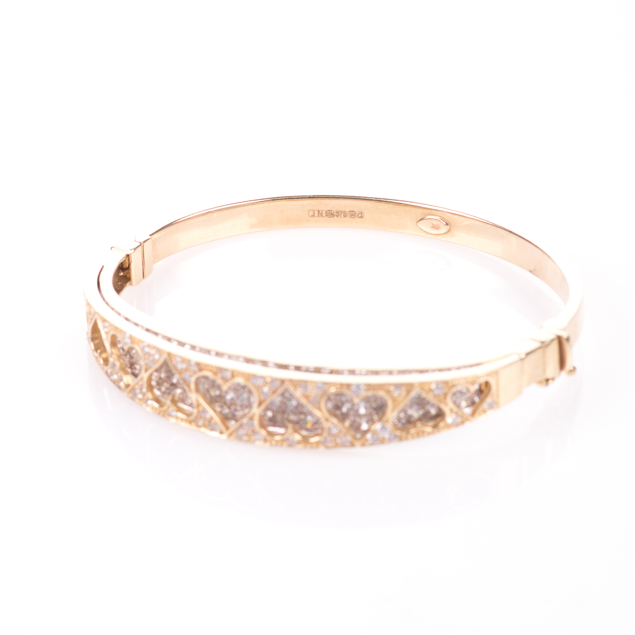 9ct Gold 4ct Diamond Heart Bangle Bracelet - Image 4 of 7
