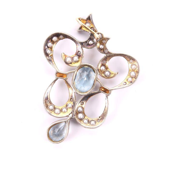 Victorian Aquamarine, Diamond & Pearl Pendant - Image 4 of 4