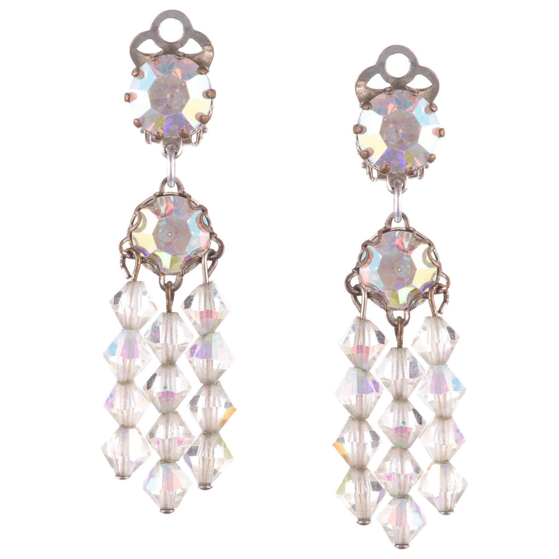 1960s Iridescent Rhinestone Earrings
