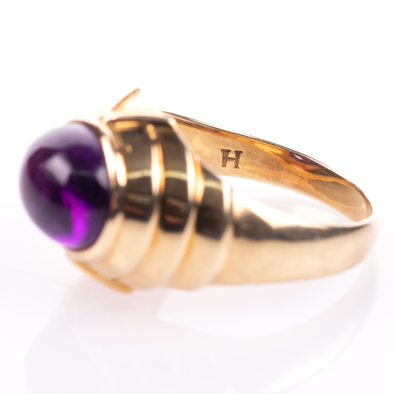 14ct Gold Amethyst Cabochon Ring Egyptian Revival Style - Image 5 of 9