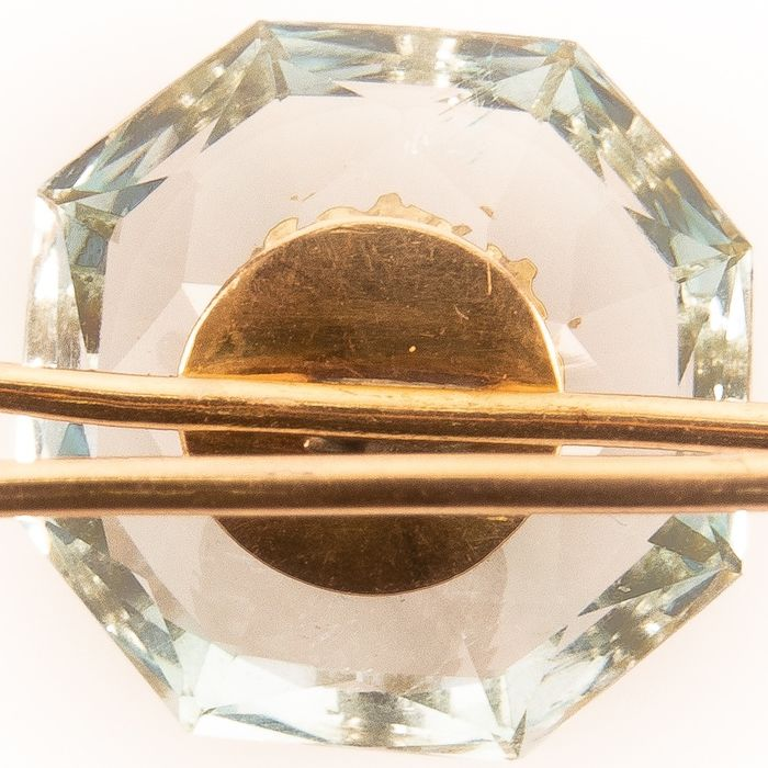 18K Gold Faceted Aquamarine & Ruby Art Deco Brooch - Image 6 of 6