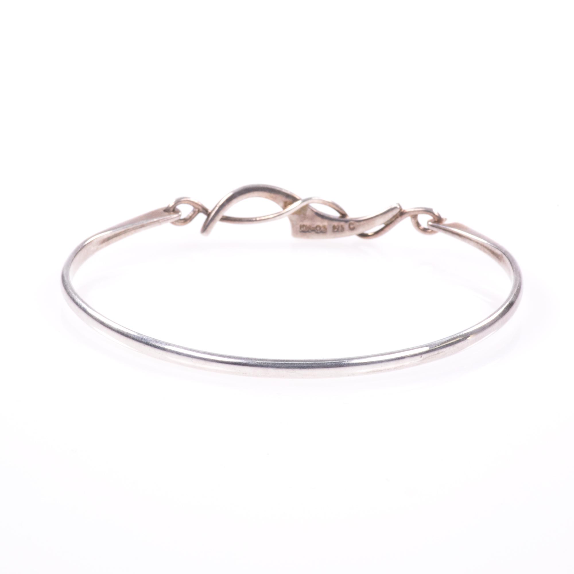 Silver Abstarct Modernist Bangle Bracelet - Image 6 of 9
