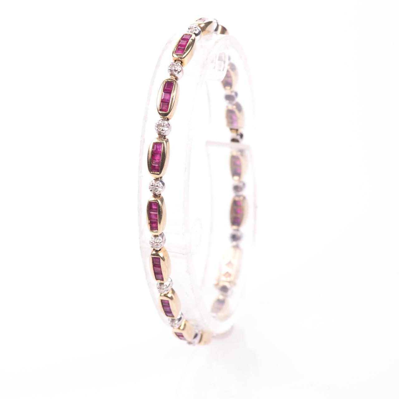 9ct Gold 2ct Ruby & Diamond Tennis Bracelet