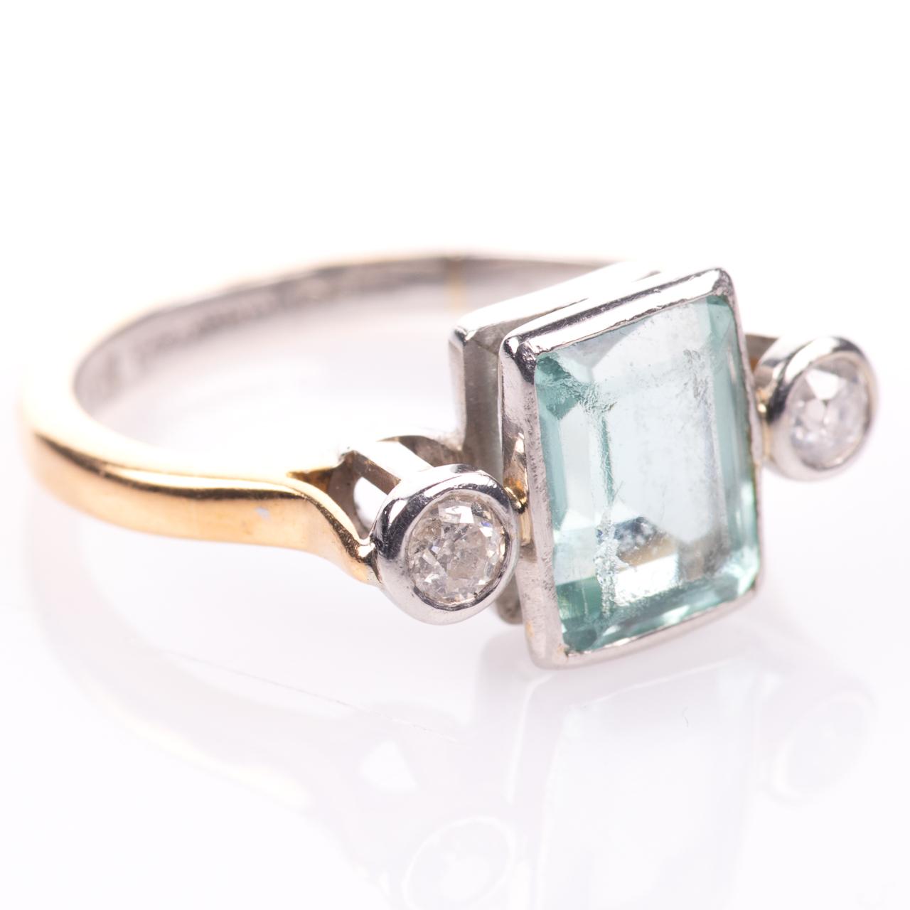 22ct Gold & Platinum 2ct Aquamarine & Diamond Art Deco Ring - Image 8 of 8
